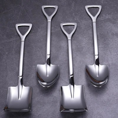 304 Stainless Steel Shovel Spoon Flat Pointed Shovel Spoon Eat Dessert Cake WS