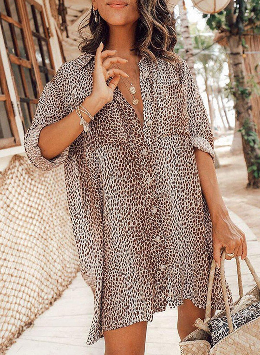 Leopard Women's Maxi Dresses Button Fit & Flare Leopard Long Sleeve Turn Down Collar Casual Beach Maxi Dress LC42494-20