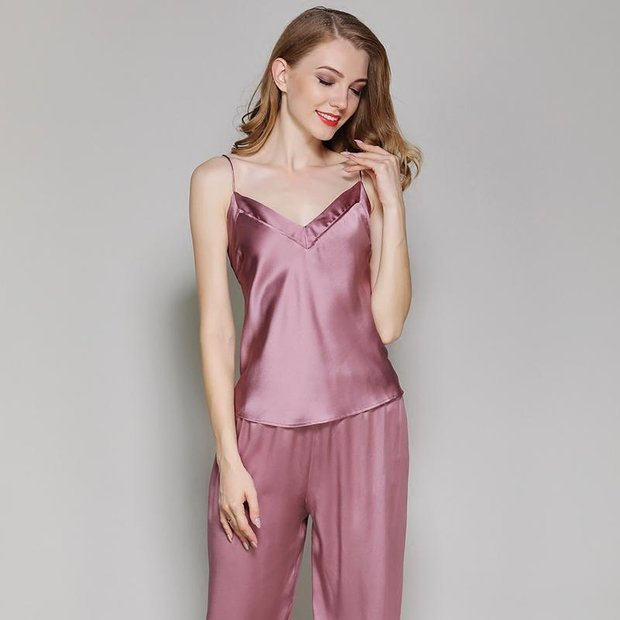 22 Momme High Quality Women's Classic Long Silk Camisole Set、Real Silk Life
