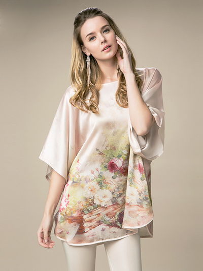 19 Momme Artful Floral Printed Loose Silk Nightgown、Real Silk Life