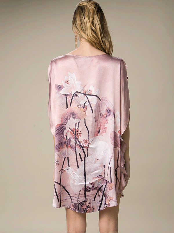 19 Momme Tropical In Pink Printed Loose Silk Nightgown、Real Silk Life