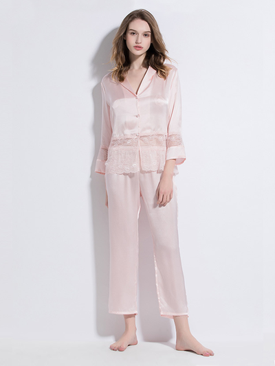 19 Momme Pink Lace Silk Pajamas Set、Real Silk Life