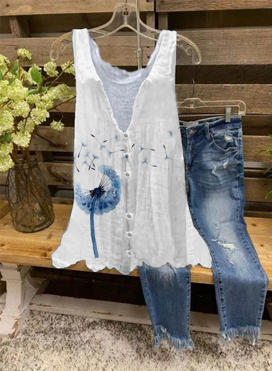 White Women's Tank Tops Dandelion Button-up Tunic Tank Tops LC2562103-1