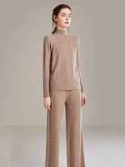 Cashmere Cable Knit Tracksuit| Multi-Colors Selected、Real Silk Life