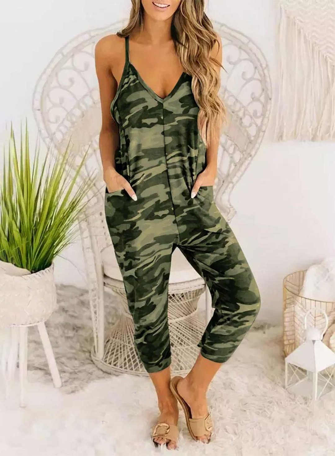 Green Women's Jumpsuits Camouflage Spaghetti Strap Pocket Jumpsuit LC642356-9