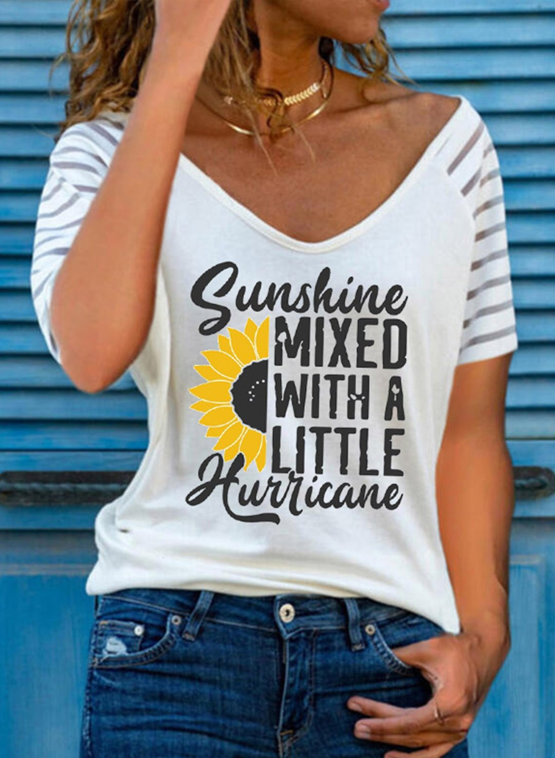 White Women's T-shirts Sunflower Letter Print Striped Sleeve T-shirt LC2526235-1