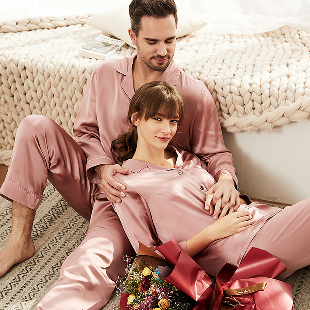 Monogrammed 19 Momme Pink Long Sleeves Classic Silk Long Pajamas Set For Couple、Real Silk Life