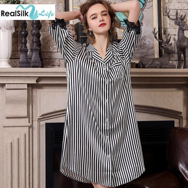 22 Momme High Quality Women's Design 2019 Silk Sleep Shirt、Real Silk Life