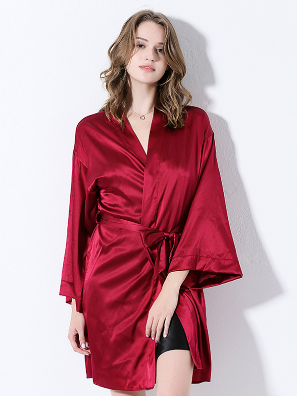 19 Momme Silk Solid Oversize Robe、Real Silk Life