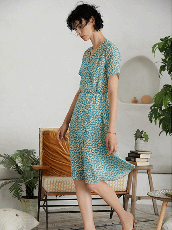 Cyan Flora Scattered Silk Dress、Real Silk Life