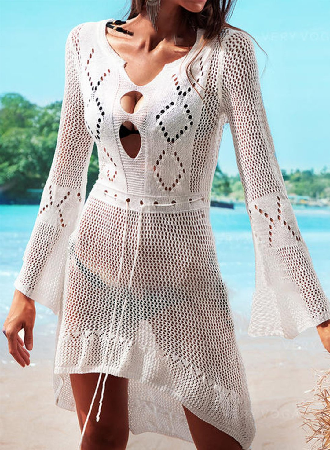 White Women's Dresses Solid Cut-out Drawstring Beach Mini Dress LC42916-1