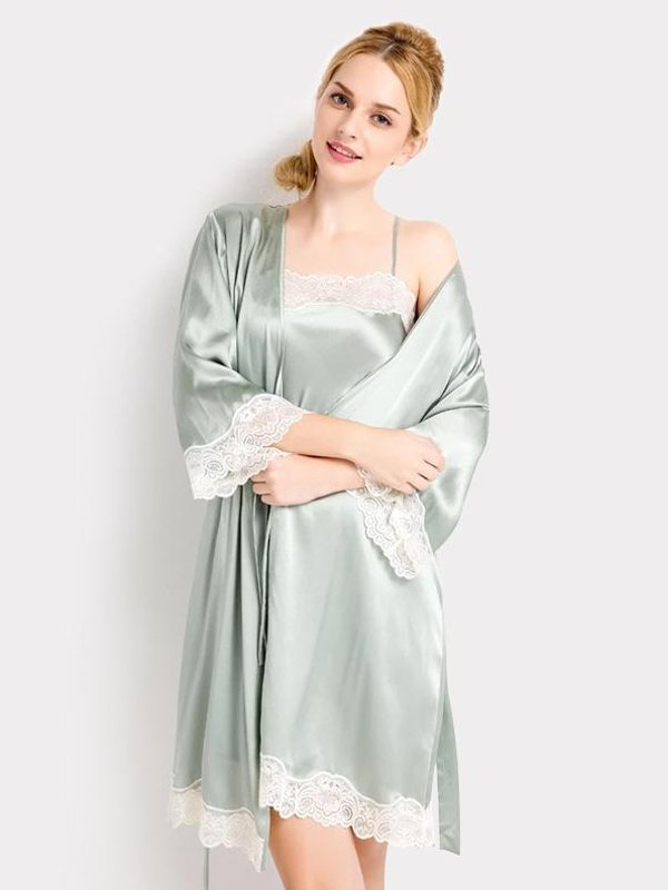 22 Momme High Quality Women's Lovely Silk Robe Set、Real Silk Life