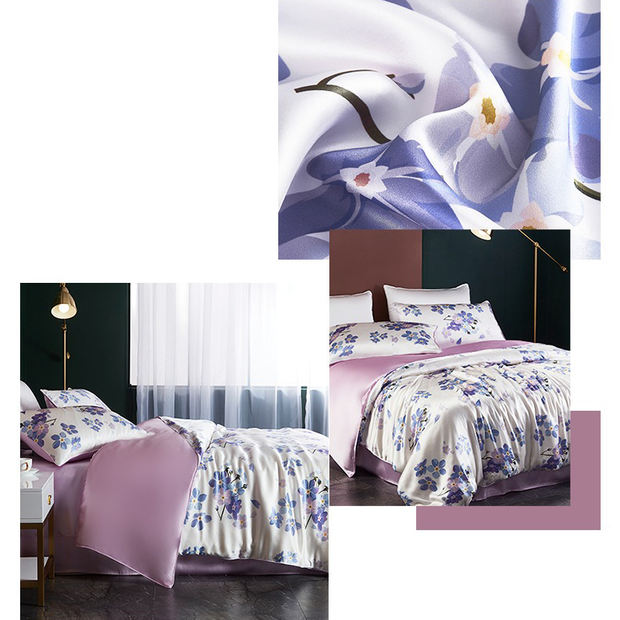 19 Momme Purple Flowers Printed Silk Duvet Cover Set | 4pcs、Real Silk Life