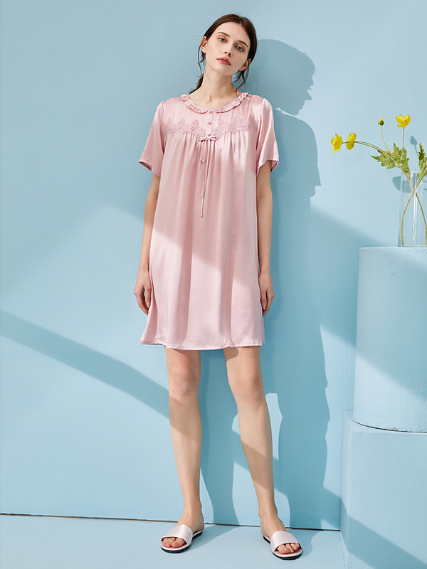 Ruffle Neck Short Sleeves Silk Nightgown、Real Silk Life