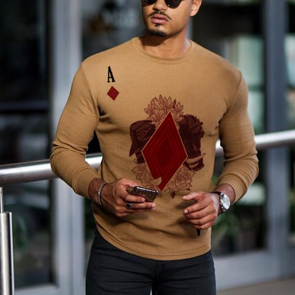 Men's printed knitted brown long sleeve T-shirt / [viawink] /