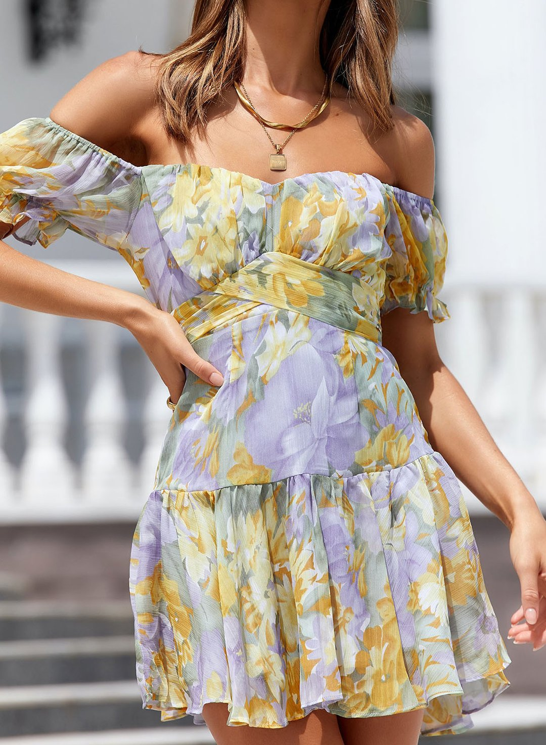 Yellow Women's Mini Dress Floral Multicolor Fit & Flare 	Off Shoulder Short Sleeve Summer Knot Casual Cute Mini Dress LC225600-7