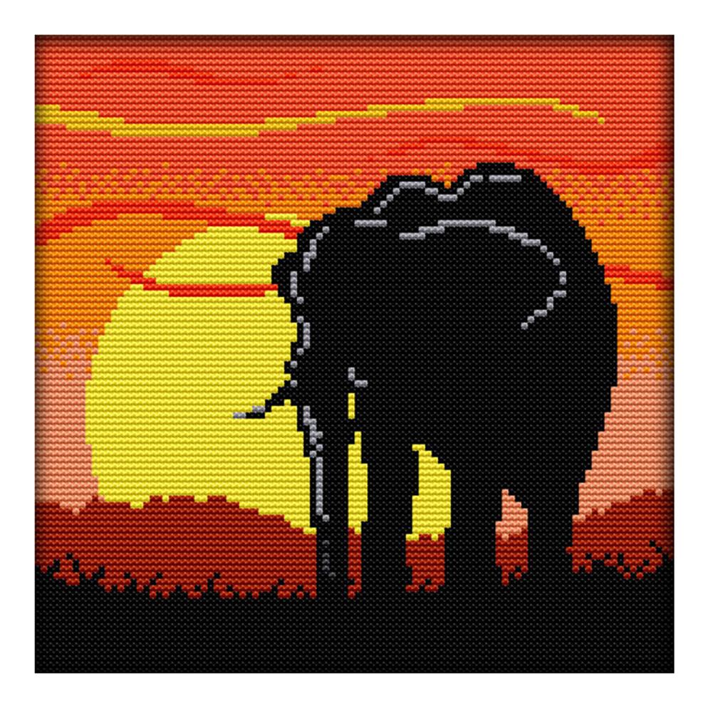 23*23CM - 14CT Stamped Cross Stitch-Sunset Elephant, 501 Original