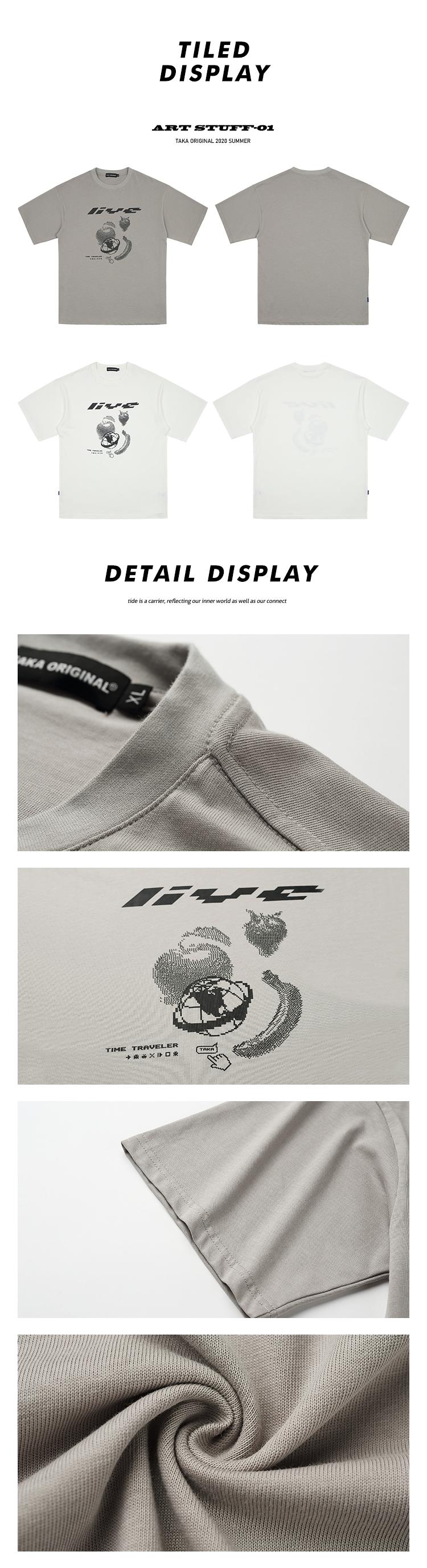 taka original 20SS pixelated pirnt laid back unisex cotton crewneck short sleeves t-shirt for teen