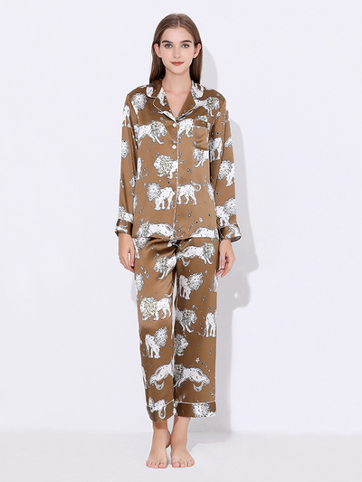 22 Momme High Quality Lion Printed Vintage Collection Silk Pajamas Set、Real Silk Life