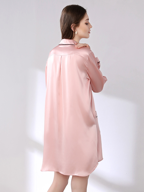 Classic Long Sleeves Contra Trim Silk Nightgown、Real Silk Life