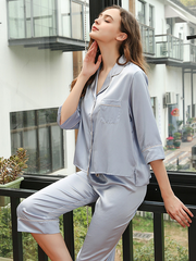 High Quality 22 Momme Silk Short Loose Pajamas With Middle Sleeves | Multi-Colors Selected、Real Silk Life
