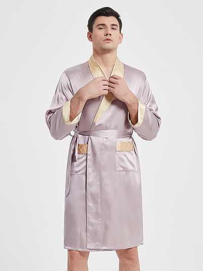 22 Momme Luxury Silk Robe Pajamas Set For Men、Real Silk Life