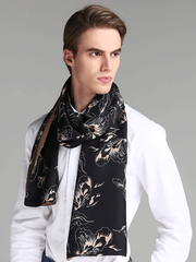 Black Silk Scarf 1033161101 For Men 30*180、REAL SILK LIFE