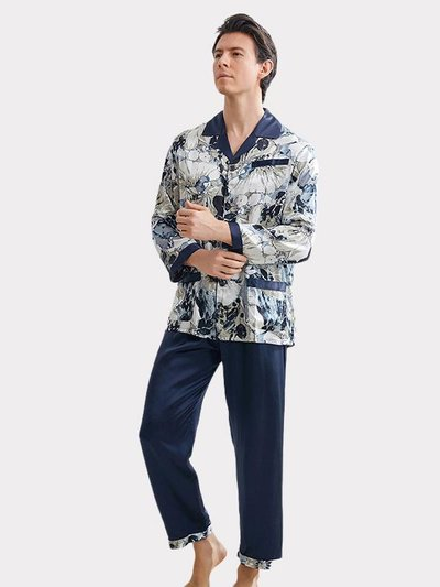 19 Momme Blue Printed Silk Pajams For Men、Real Silk Life
