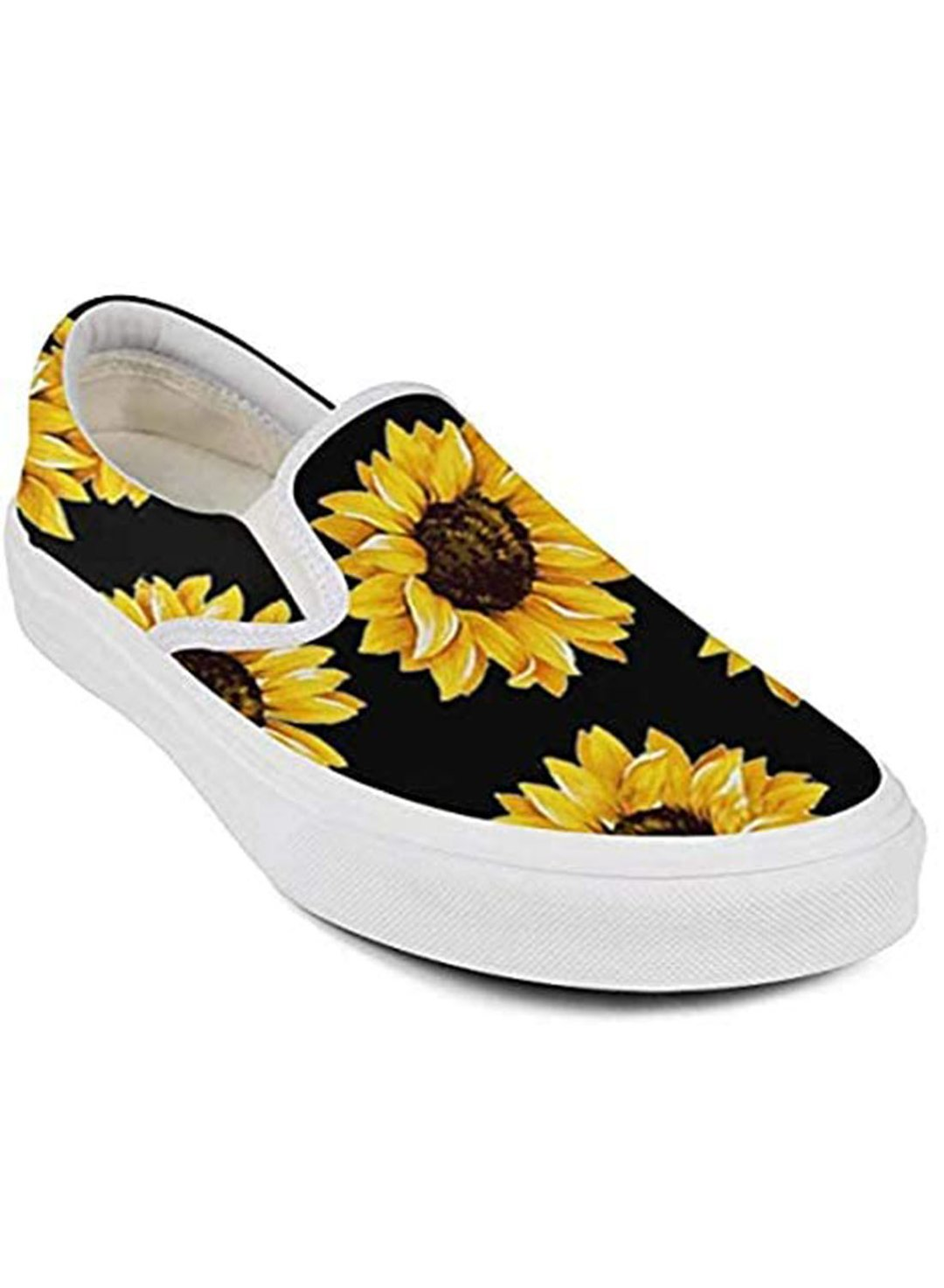 Black Women's Shoes Canvas Sunflower Print Pedal Shoes LC121161-2