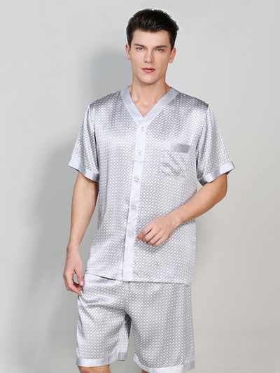 19 Momme Gray Short Silk Pajamas Set For Men、Real Silk Life