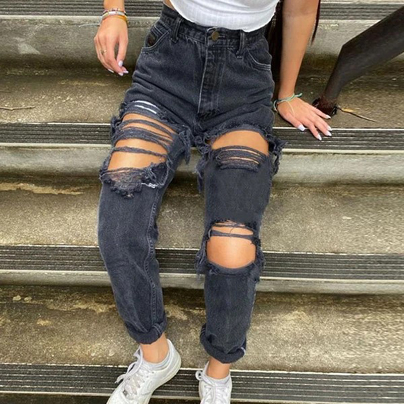 Street hip-hop ripped jeans