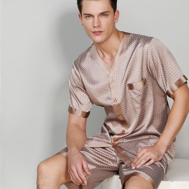 19 Momme Brown Short Silk Pajamas Set For Men、Real Silk Life