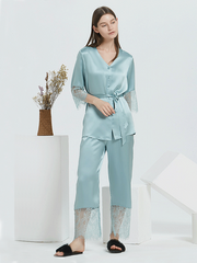 22 Momme Ciel Blue Lace Silk Pajamas Set、Real Silk Life