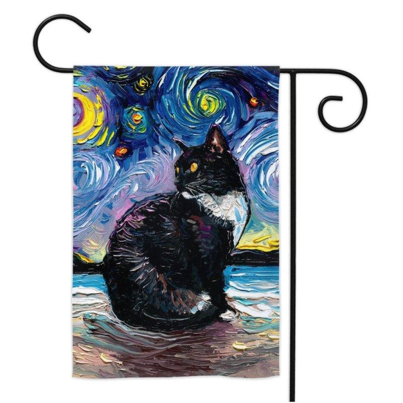 Beach Starry Night Garden Flag, Tuxedo Cat Garden Flags
