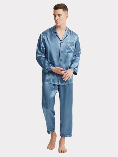 19 Momme Light Blue Silk Pajams For Men、real-silk-life