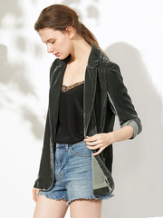 Casual V Neck Silk Velvet Blazer With Pockets For Women、Real Silk Life
