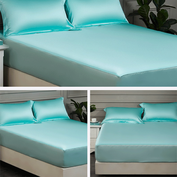 19 Momme Baby Blue Single Side Mulberry Silk Fitted Sheet& Pillowcase Set、amoursilk
