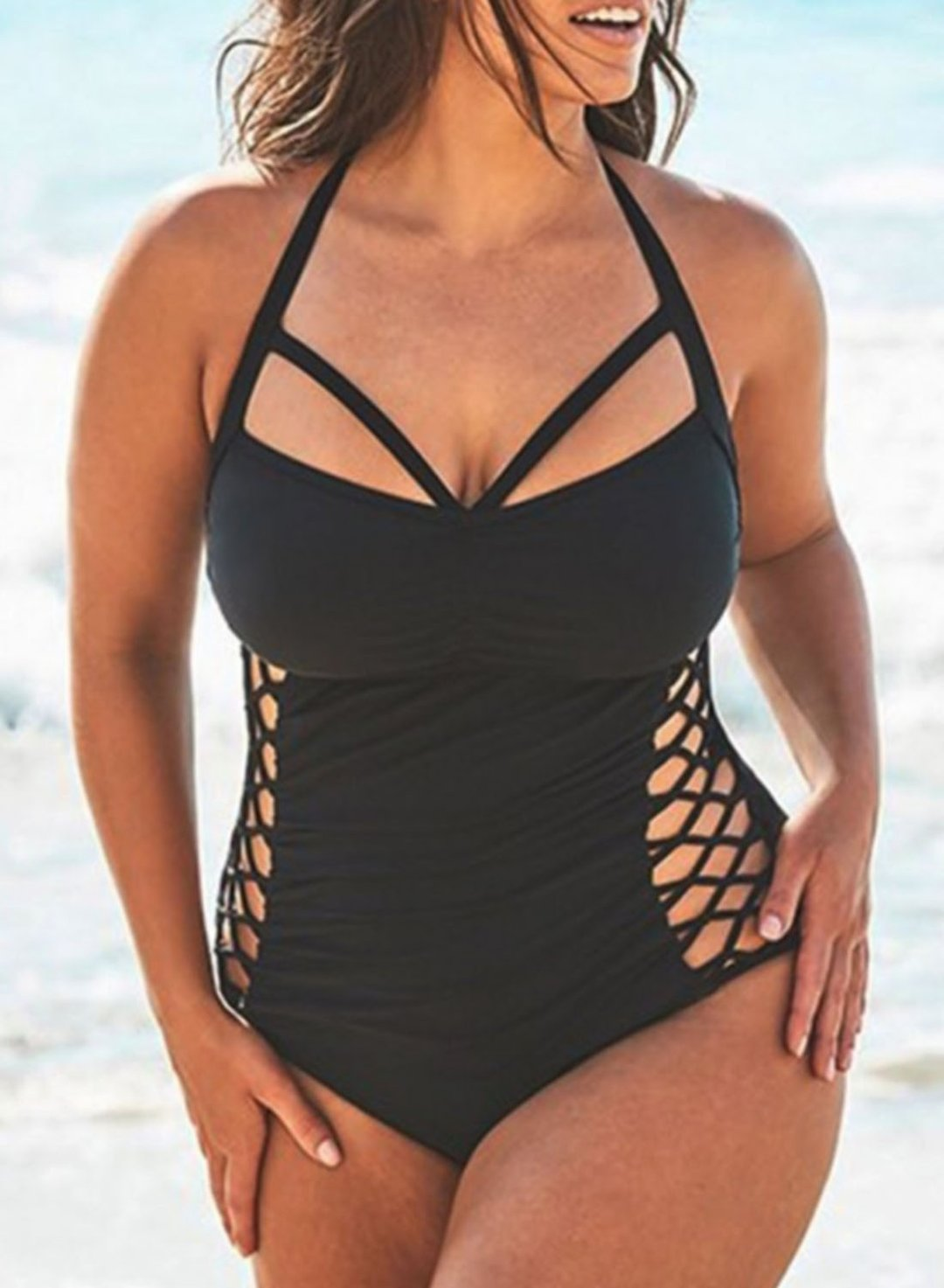 Black Women's Swimsuits Criss Cross Plus Size One-piece Swimsuits LC44144-2