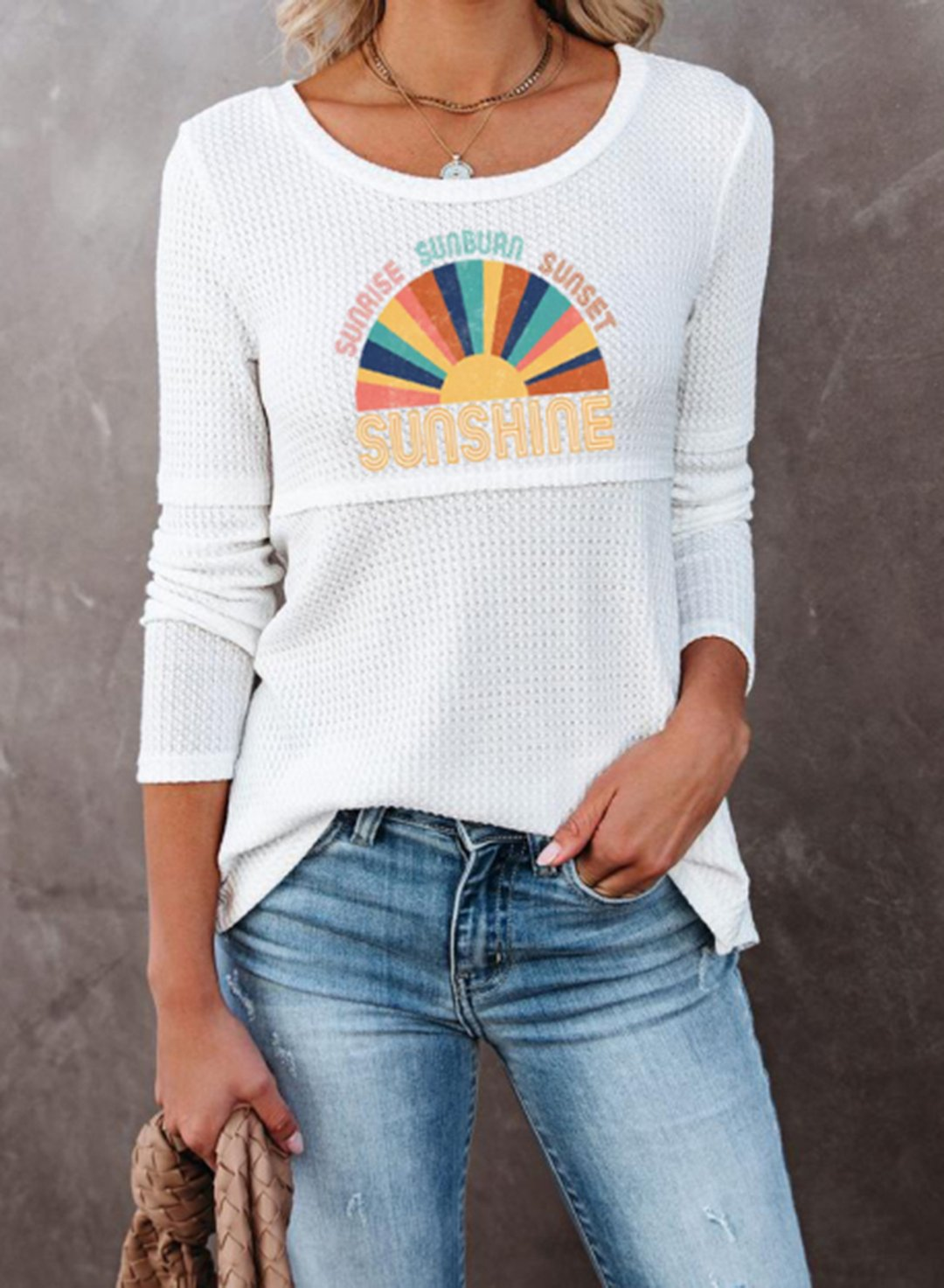 White Women's Pullovers Color Block Letter Round Neck Long Sleeve Casual Daily Pullovers LC2517635-1