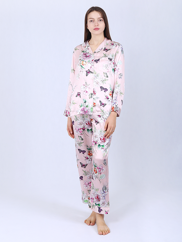 22 Momme Love Of Butterfly Silk Pajamas Set For Women