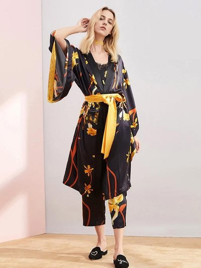 25 Momme Luxury Black Printed Silk Robe Pajamas Set | Three Pieces Set、Real Silk Life