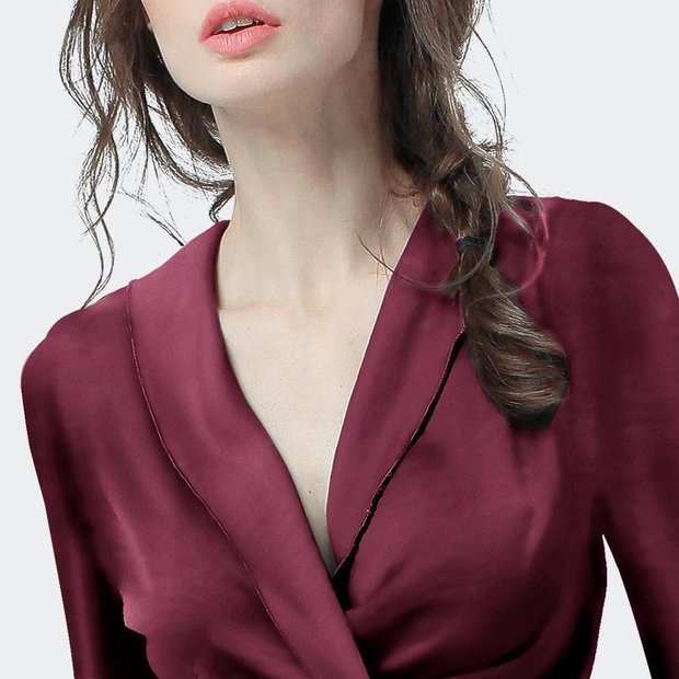 Women Wine V Neck Long Sleeves Wrap Silk Blouse、Real Silk Life