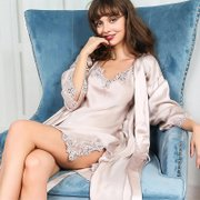 19 Momme Women's Sexy Lacey Silk Robe Set-Two Pieces、Real Silk Life