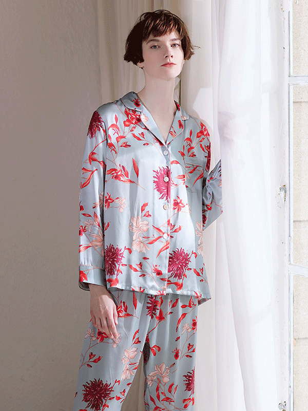 High Quality Full Length Sweet Flora Silk Pajamas Set For Women