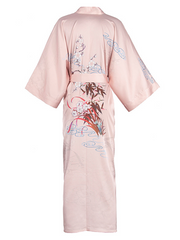 19 Momme Traditional Pink Flower Pod Printed Kimono Style Loose Silk Robes、Real Silk Life