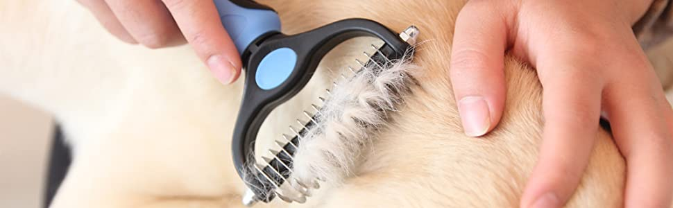 Maxpower Planet Pet Grooming Brush Shedding and Dematting Undercoat Rake Comb for Dogs and Cats