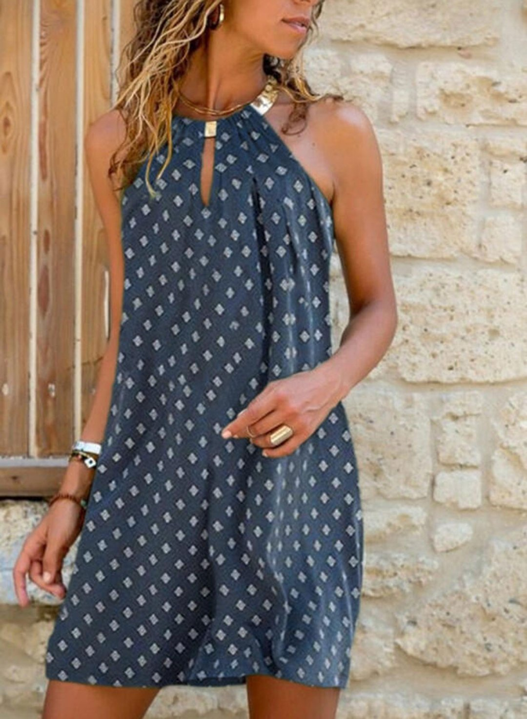 Blue Women's Dress Polka Dot A-line Halter Sleeveless Cold Shoulder Vacation Summer Casual Mini Dress LC225531-5