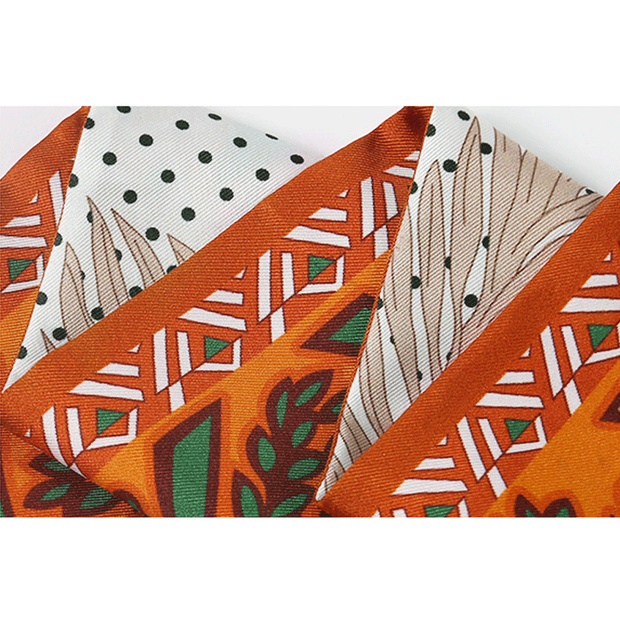 Orange Printed Silk Scarf 1033181300 116*6、REAL SILK LIFE
