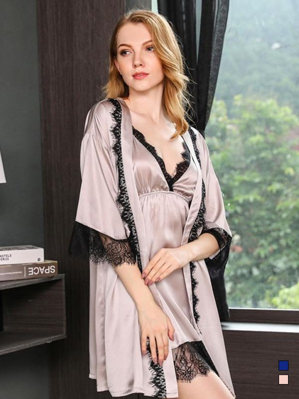 22 Momme High Quality Women's Trimmed Silk Robe Set-Two Pieces、Real Silk Life
