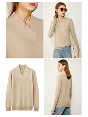 Breathable Solid Color V Neck Wool-Cashmere Blend Shirt、Real Silk Life